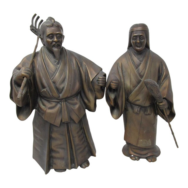 Japanese Farmer and Wife Bronze Figures - a Pair For Sale