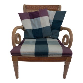 1970s Vintage Rattan & Leather Armchair For Sale