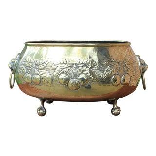 Antique English Brass Planter Flower Pot Vase For Sale