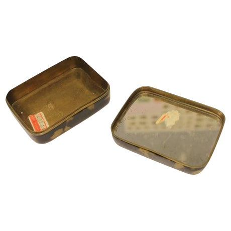 Pair Of Antique Chinese Decorative Tortoise Shell Overlay Boxes With Embossed Floral/Fruit Motif.