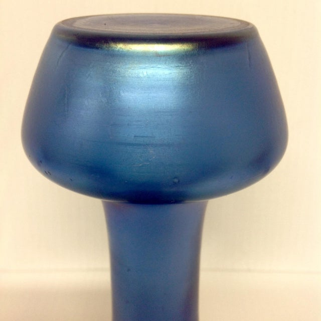 Dark Blue Iridescent Art Deco Glass Vase For Sale - Image 5 of 6