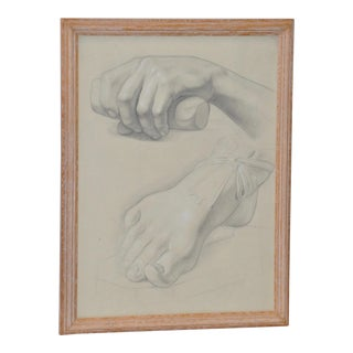 1960's Vintage Graphite Study of a Clinched Hand and Extended Foot For Sale