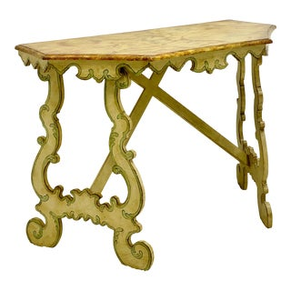 Chelsea House Faux Marble Venetian Style Console Table For Sale