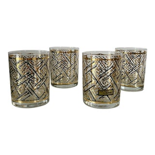 Vintage Mid-Century Modern Culver Glass Black and Gold Bamboo Glasses - Set of 4 For Sale