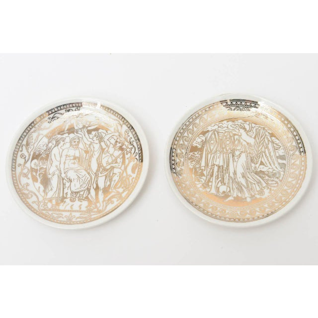 """Mid-Century Modern Complete Set of Eight Italian Fornasetti Gilded Porcelain """"Mitologia"""" Coasters For Sale - Image 3 of 10"""