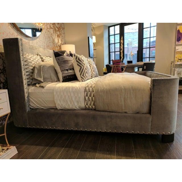 Queen-Size Grey Velvet Bed Frame For Sale - Image 4 of 7
