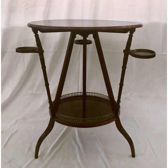 Unusual Antique Rosewood Side Table With Delicate Inlay and Coasters, Circa 1860-1870. For Sale In New Orleans - Image 6 of 6
