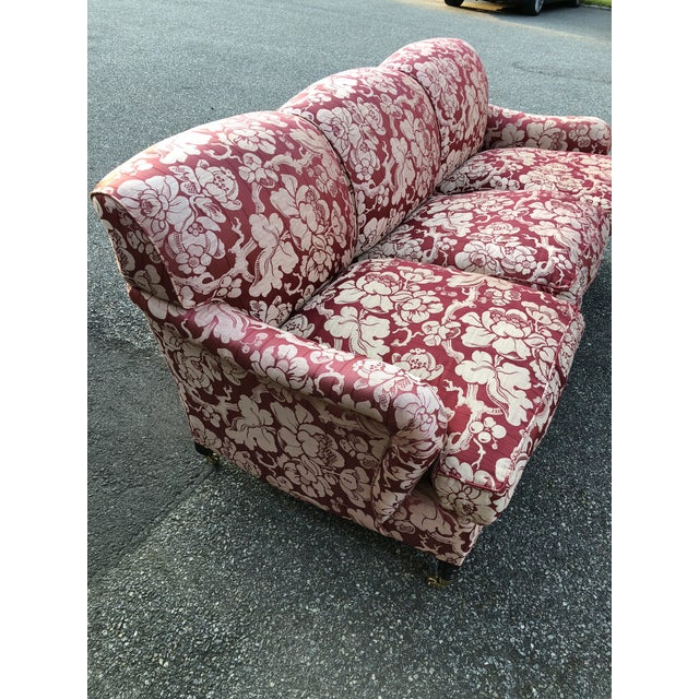Red George Smith Japonais Spice Fabric Sofa For Sale - Image 8 of 11
