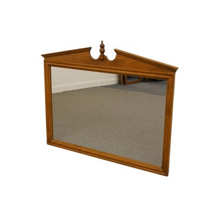 Ethan Allen Heirloom Nutmeg Maple Pediment Top Wall/Dresser Mirror For Sale