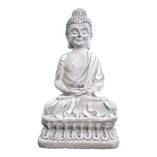 Asian Antique Concrete Sitting Buddha Cement Figurine For Sale