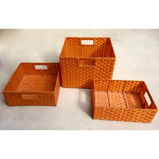 Vintage Woven Plastic Storage Baskets - Set of 3 Preview
