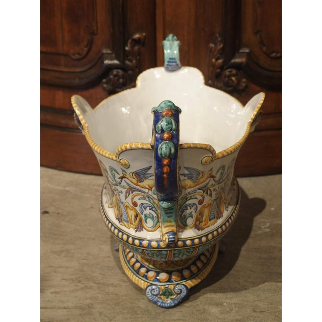 French 19th Century French Faience Jardiniere, Antoine Montagnon, Nevers For Sale - Image 3 of 13
