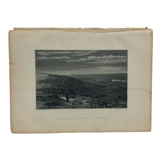 "Antique Original Engraving on Paper ""Mount of Olives & Valley of Jehosaphat"" by J. Cramb Circa 1890 For Sale"