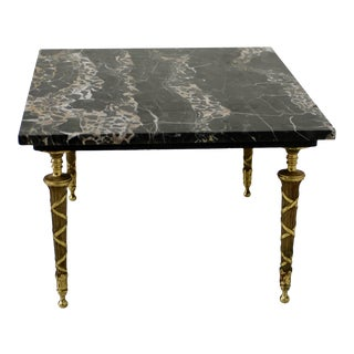 Neoclassical Italian Black Marble and Bronze Side or Petite Cocktail Table For Sale