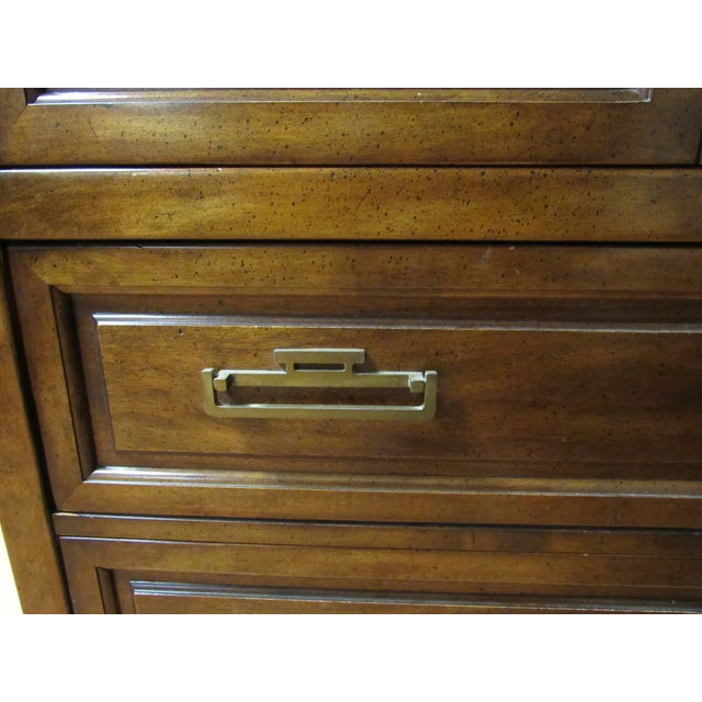Metal Century Furniture Asian Campaign Style Armoire Chest With Brass Accents For Sale - Image 7 of 11