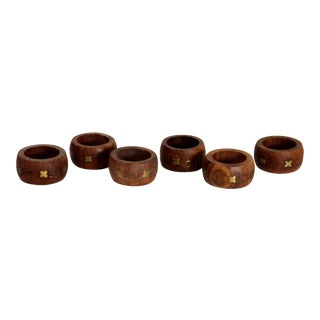 1960s Hand Carved Natural Wood & Gold Leaf Napkin Rings - Set of 6 For Sale