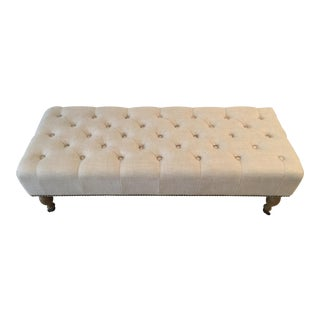 Restoration Hardware Tufted Linen Bench
