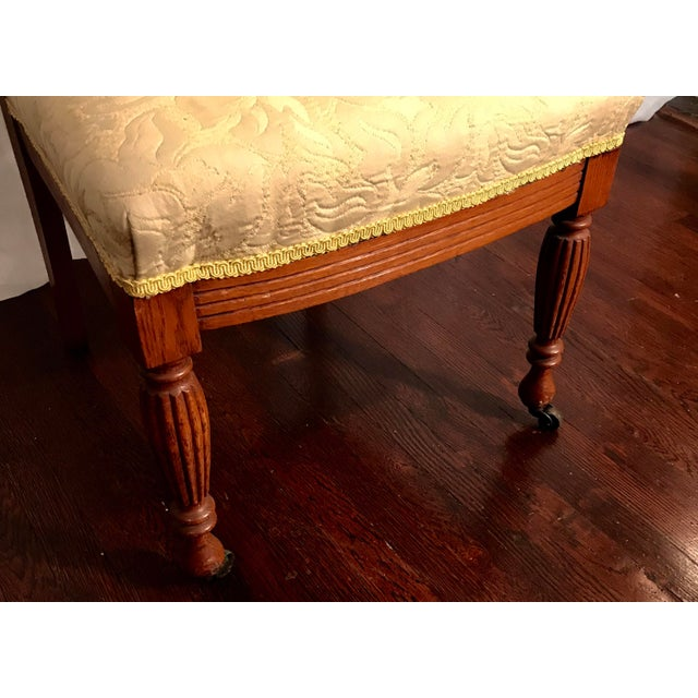 Late 19th Century Buttercream Charles Lock Eastlake Styled Carved Victorian Era Accent Chair For Sale - Image 5 of 6