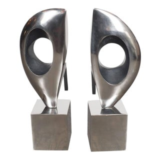 Pair of Modernist Sculptural Andirons, American, 20th Century For Sale