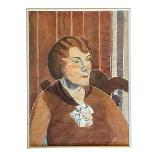 Charles Lay 1920s Watercolor Portrait of a Woman For Sale