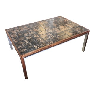 Mid Century Danish Rosewood and Tile Top Coffee Table For Sale