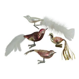Blown Glass Clip Bird Ornaments - Set of 4 For Sale