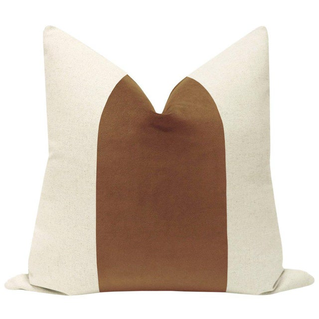 "Pair of beautiful 22"" natural linen pillows with a sable brown velvet center and solid natural linen reverse. Meticulously..."