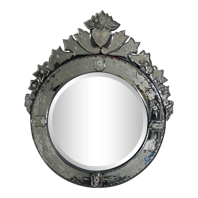 Early 20th Century Vintage Round Venetian Mirror 26x30 For Sale