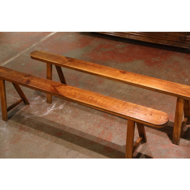 Pair of 19th Century French Provincial Carved Cherry Wood Trestle Benches For Sale - Image 4 of 10