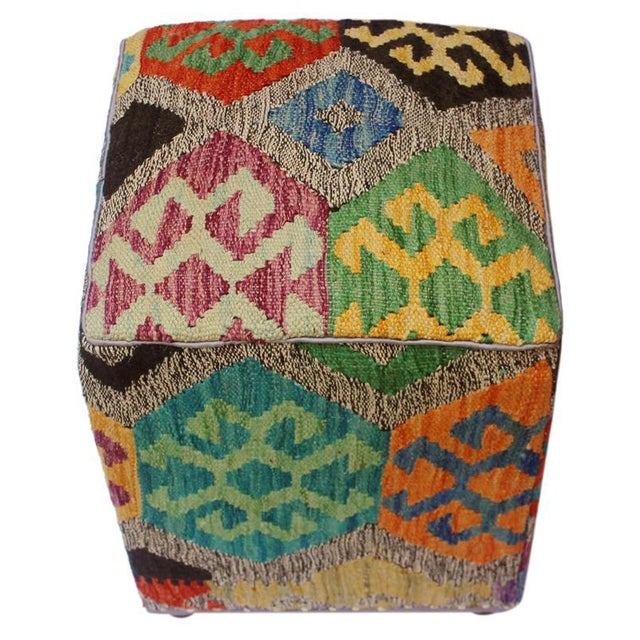Asian Arshs Curt Black/Ivory Kilim Upholstered Handmade Ottoman For Sale - Image 3 of 8