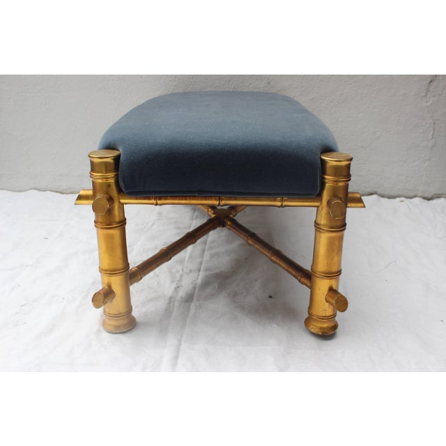 Traditional Gilt Faux Bamboo Bench For Sale - Image 3 of 11