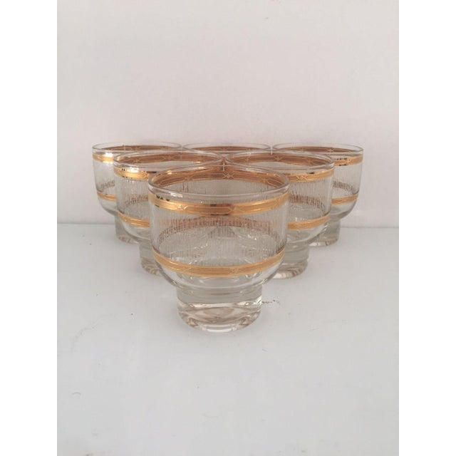Gold Mid Century Gold & Clear Textured Short Cocktail Glasses - Set of 6 For Sale - Image 8 of 8