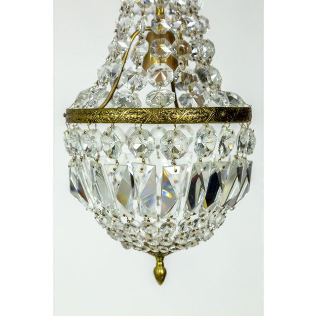 Hollywood Regency Petite Regency Style Crystal Tent and Bag Chandelier For Sale - Image 3 of 8