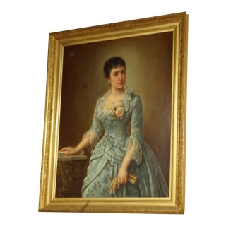 19th Century Portrait of a Lady Oil on Canvas For Sale