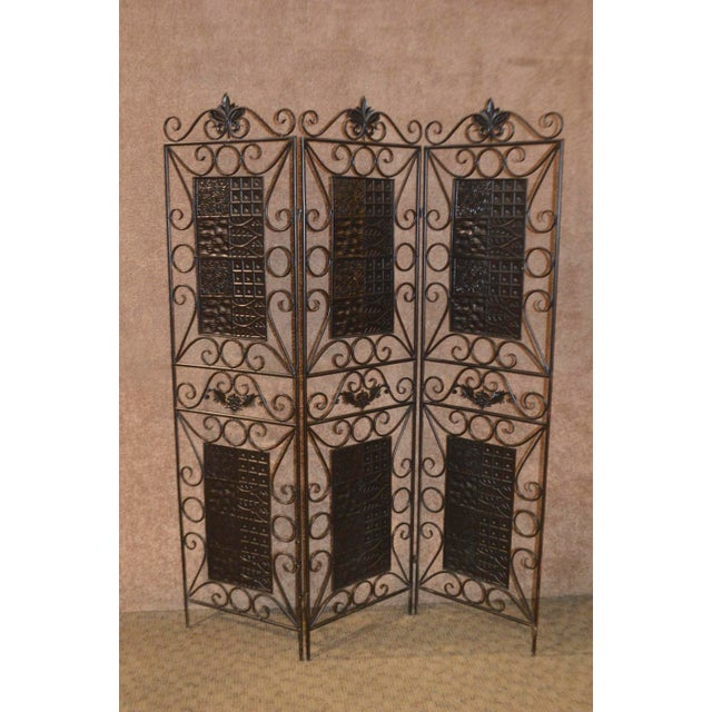Metal 1980s Vintage 3-Panel Folding Screen For Sale - Image 7 of 13