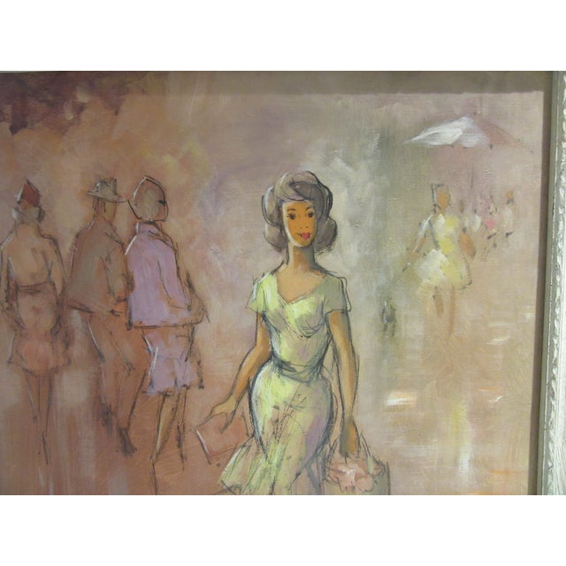 Fabulous 1960s oil painting of a Paris fashion scene. Painting depicts a model in a yellow dress, with 3 models in the...