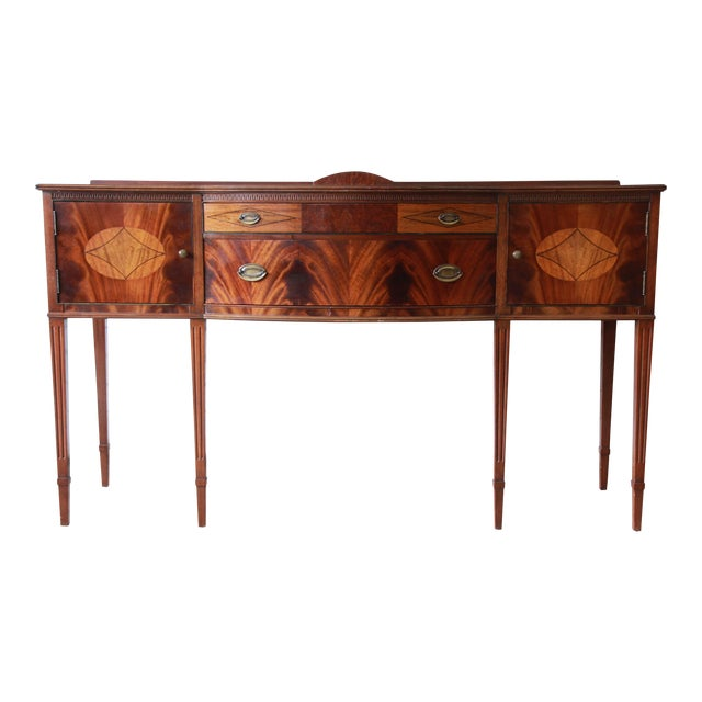Limbert Hepplewhite Style Inlaid Flame Mahogany Sideboard Buffet, Circa 1930s For Sale - Image 11 of 11