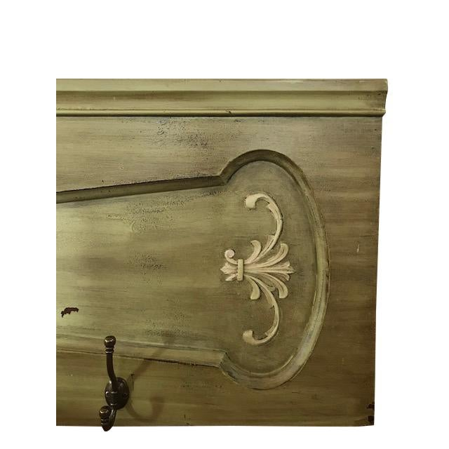 French 1940s Vintage Architectural Wood Plaque With Hooks For Sale - Image 3 of 12