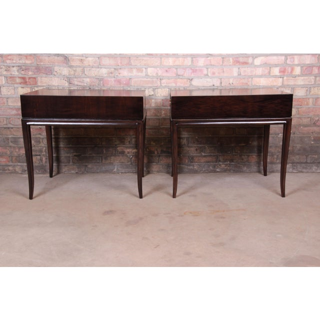 Drexel Heritage Hollywood Regency Mahogany Nightstands or End Tables, Newly Refinished For Sale - Image 10 of 13