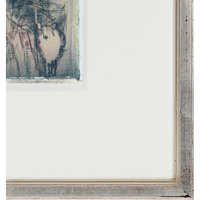 "Barbara Lewis ""Self Portrait With Teddy"" Drawing Photo Transfer on Paper For Sale - Image 4 of 5"