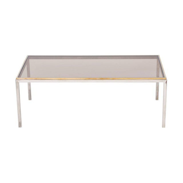 Extraordinary Willy Rizzo 'linea Flaminia' dining table Solid brass and chromed steel - smoked glass top Measures: W 100 L...