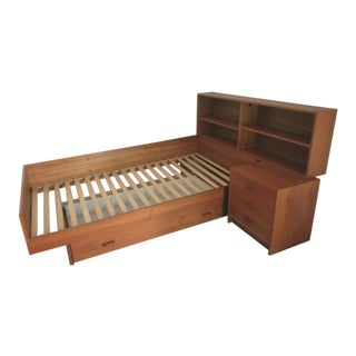 1980s Scandinavian Modern Teak Bed - 3 Pieces For Sale