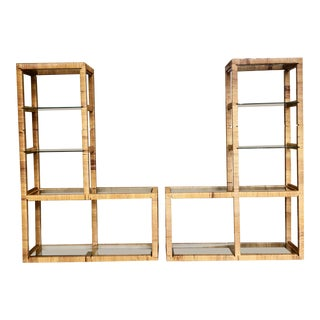 1970s Boho Chic Franco Albini Rattan Wrapped Etageres – a Pair For Sale