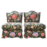 Image of Vintage Floral Slipper Chairs- a Pair For Sale