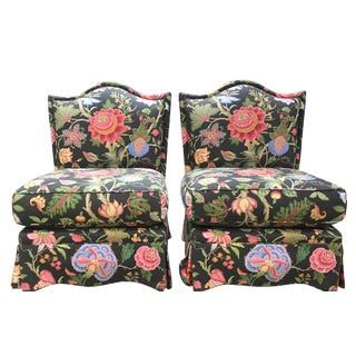 Vintage Floral Slipper Chairs- a Pair For Sale