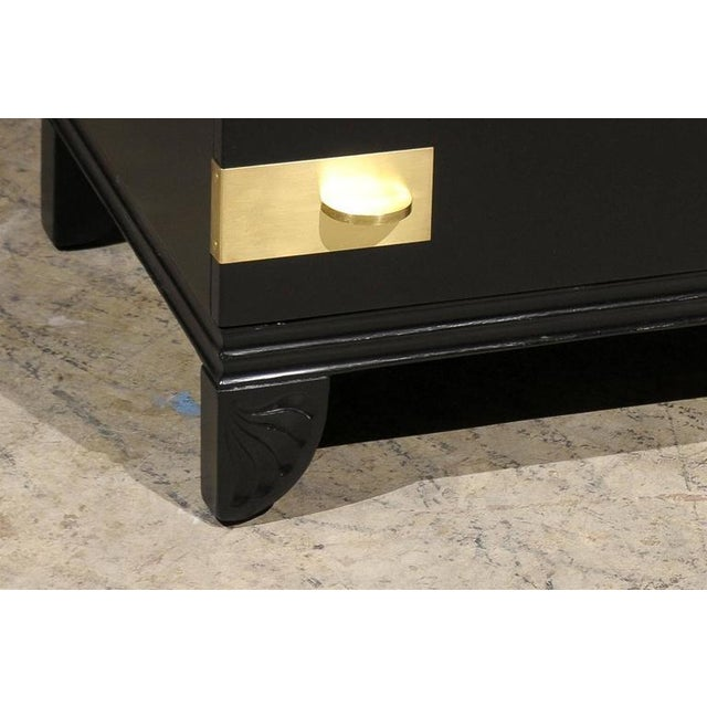 Black Restored Widdicomb Modern Commode in Black Lacquer For Sale - Image 8 of 11