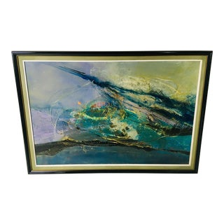 1970s Vintage Abstract Oil on Board Painting For Sale