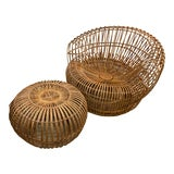 Image of Original Franco Albini Wicker Rattan Chair and Ottoman - a Pair For Sale