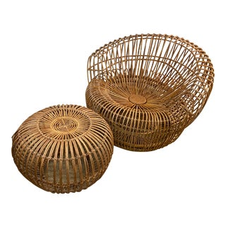 Original Franco Albini Wicker Rattan Chair and Ottoman - a Pair For Sale
