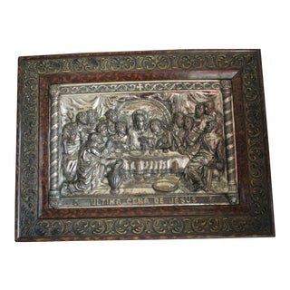"Early 20th Century ""The Last Supper"" Dark Metal Relief For Sale"